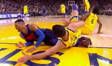 Zaza Pachulia Purposely Fell Down Hard on Russell Westbrook's Legs (VIDEO)