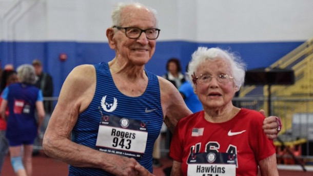 Julia Hawkins and Orville Rogers 100+ 60m world record holders USA Track and Field Masters Indoor Championships