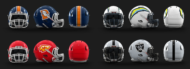 NFL Logo Redesign Mark Crosby AFC West Helmets