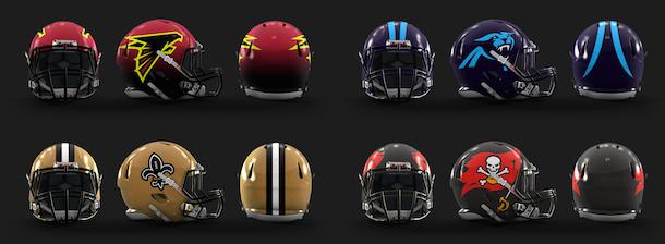 NFL Logo Redesign Mark Crosby NFC South Helmets