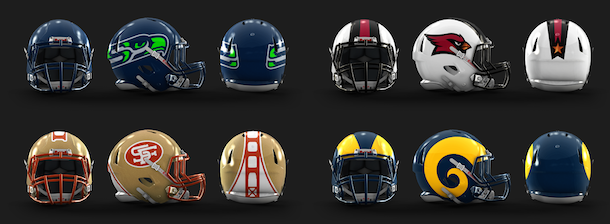 NFL Logo Redesign Mark Crosby NFC West Helmets