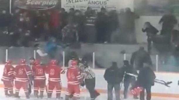 fans brawl at saskatchewan amateur hockey game