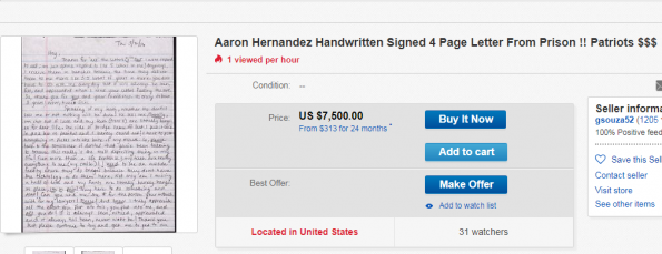 Letter Allegedly Written By Aaron Hernandez From Prison For Sale On