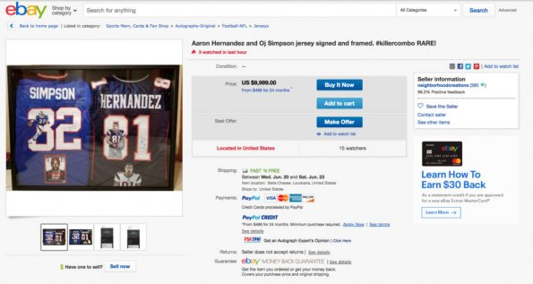 "Guy Selling ""Killer Combo"" OJ Simpson Aaron Hernandez Framed Signed Jerseys  On eBay bc0f017ea"