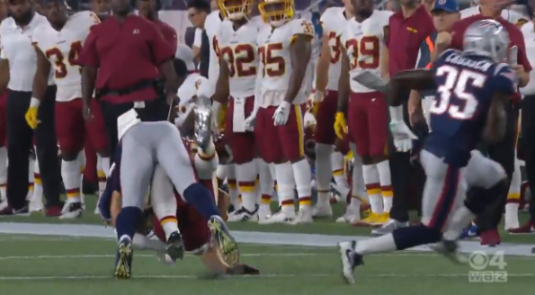 sports shoes 15d41 8848e Patriots CB Ryan Lewis Spears Redskins' Trey Quinn To The ...