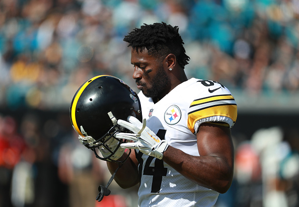 new concept 128b9 d68ac Steelers Fan Burns Antonio Brown's Jersey For Taking Shots ...