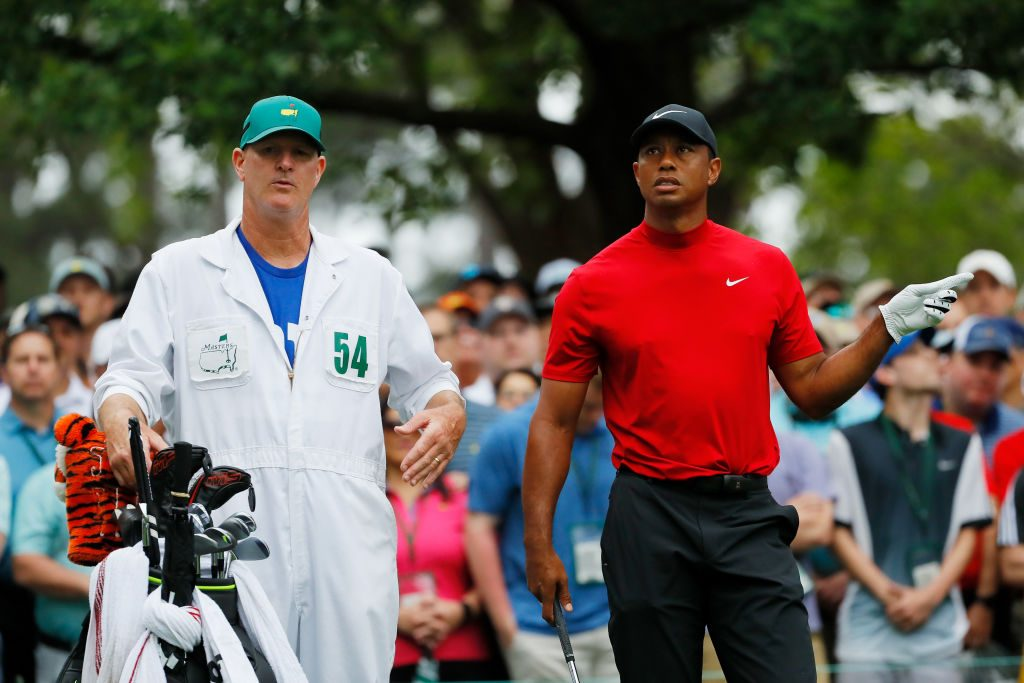 Tiger Woods' Caddie Is Wearing An NFL Jersey Under His Jumper Today
