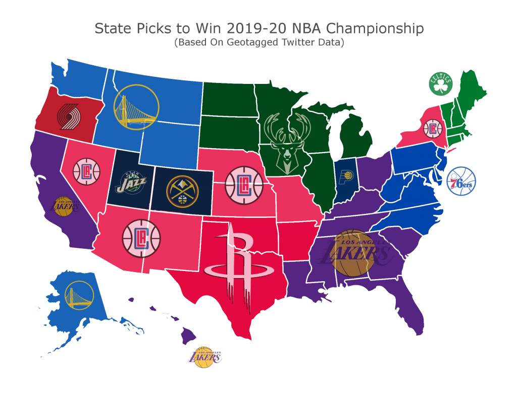 Twitter Map Shows Top Favorite Teams To Win 2019-20 NBA ...