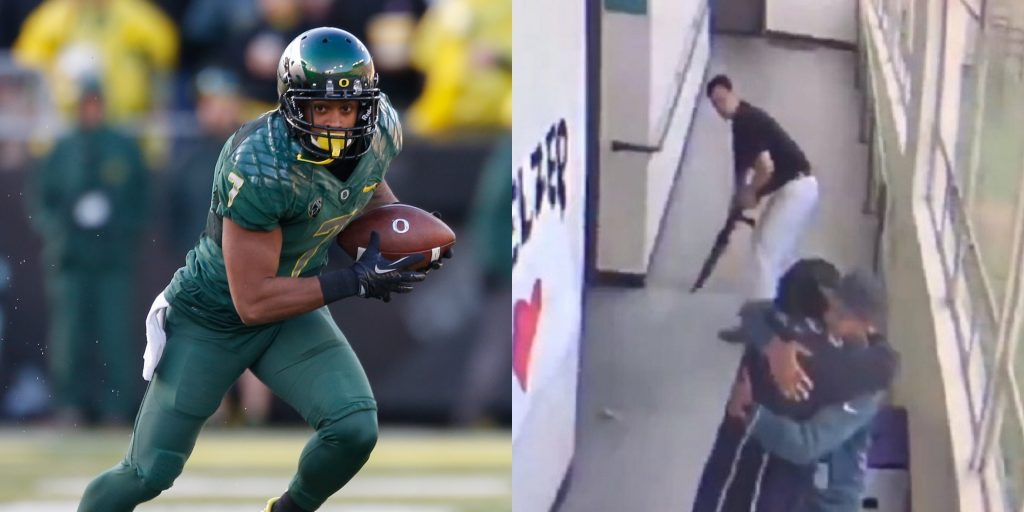 Video shows coach disarming, embracing Oregon student""