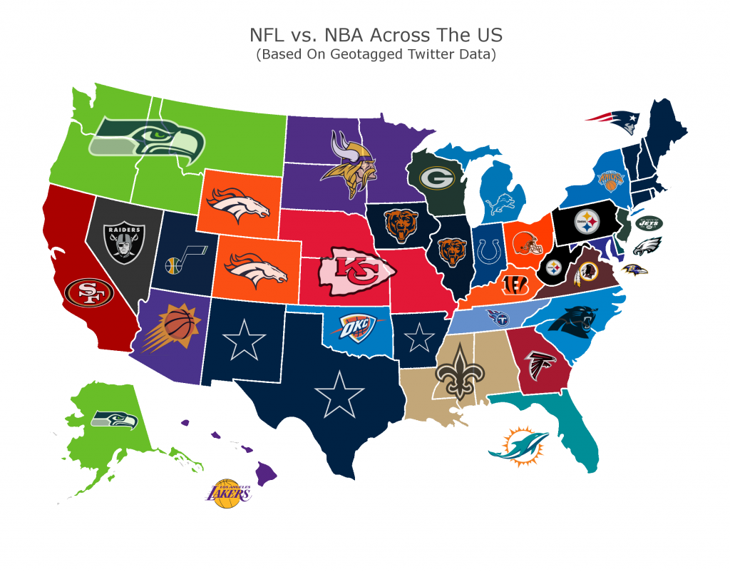 Map Shows Nfl Teams Way More Popular Than Nba Clubs In Most