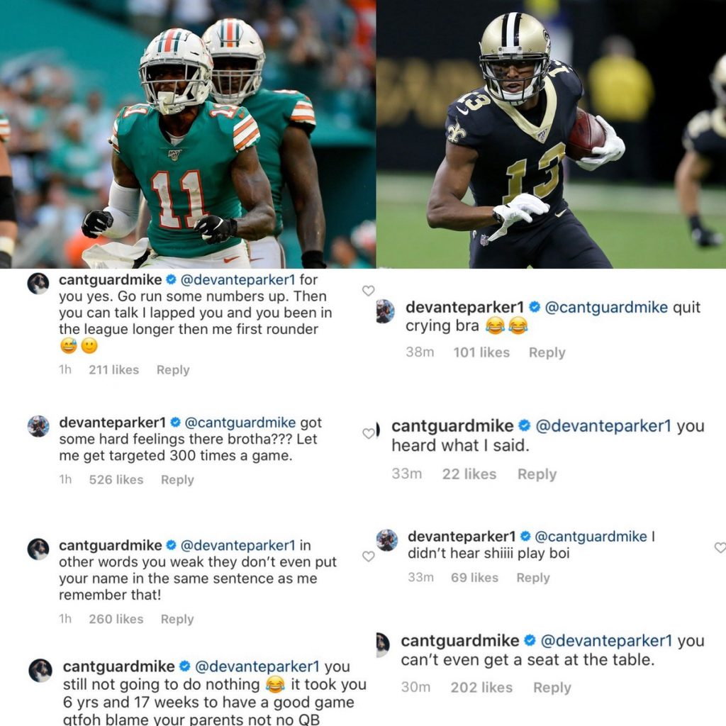 Saints' WR Michael Thomas Loses His Mind And Berates Dolphins WR DeVante Parker Over Silly Instagram Debate Question