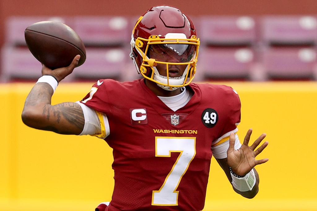 Haskins takes 1st-team reps, on track to start vs. Panthers