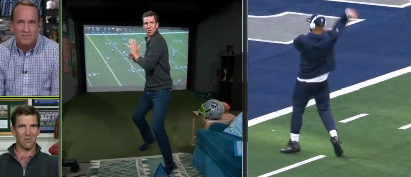 Eli Manning Hilariously Tried To Do Dak Prescott's Hip-Thrust During Manning -Cast on MNF (VIDEO) | Total Pro Sports